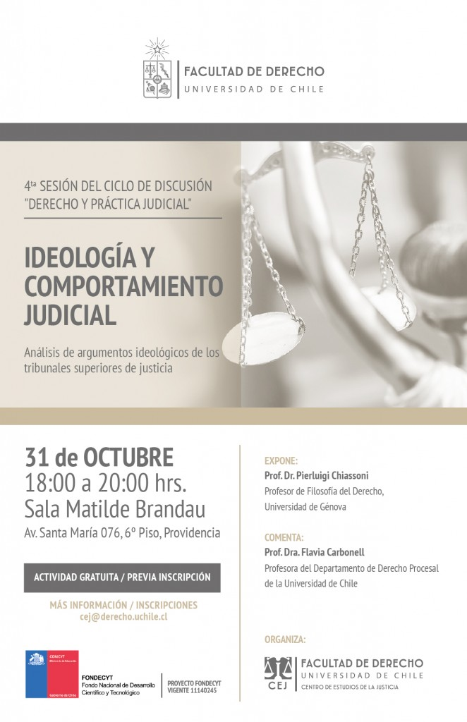 Afiche Ideología y comportamiento judicial (Chiassoni 31-10-17)